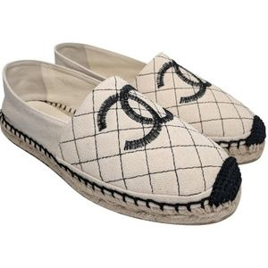 Chanel Beige & Black Quilted Espadrille Flats